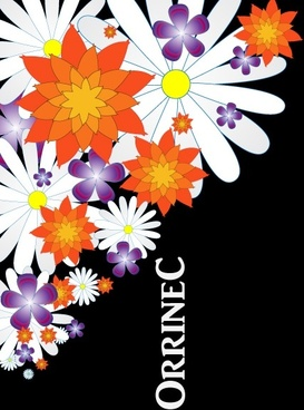 colorful flowers vector illustration on dark background