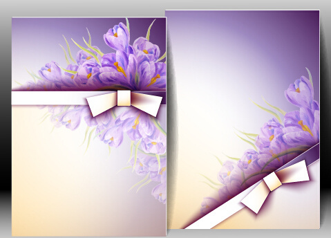 flowers with bow spring cards vector