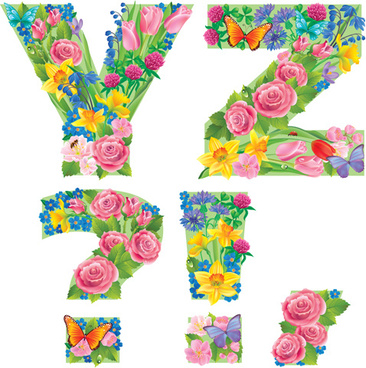 flowers with butterfly alphabets vector set
