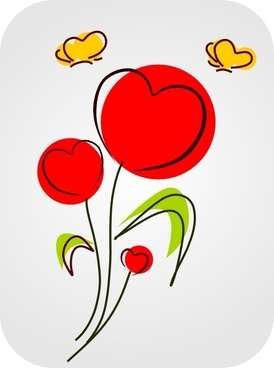 Flowers With Hearts clip art