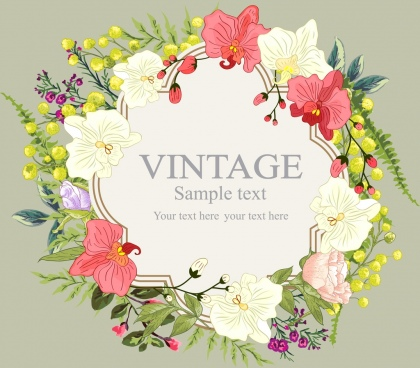 flowers wreath background multicolored various floral icons