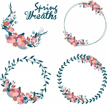 flowers wreath design elements classical decor