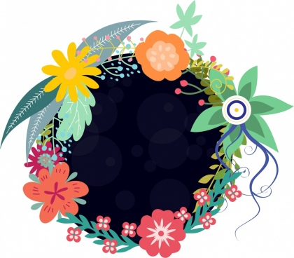 flowers wreath icon black space colorful cartoon sketch