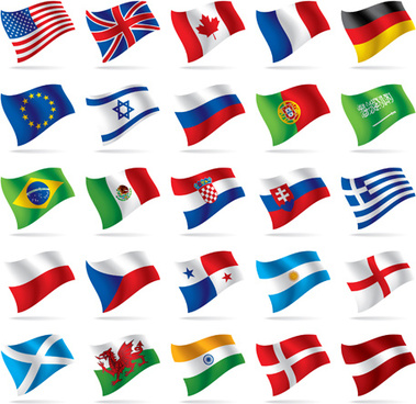 flowing flags icons vector