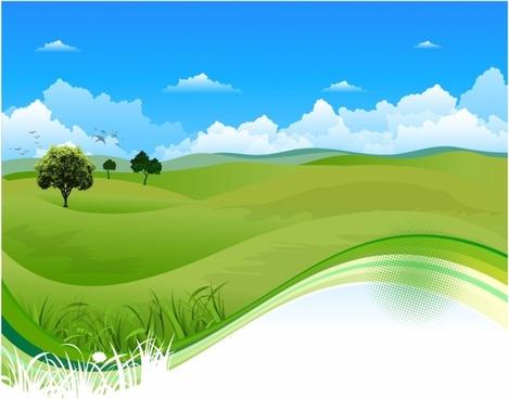 Flowing green field