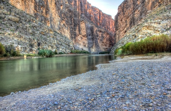 flowing into santa elena canyon at big bend national park texas