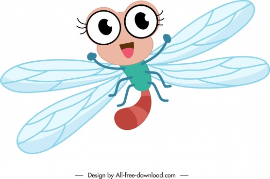 fly icon cute stylized cartoon character sketch