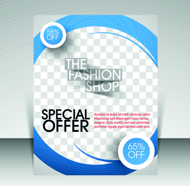 flyer and cover brochure with magazine vector illustration