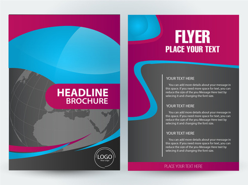 flyer brochure illustration with earth and curves design