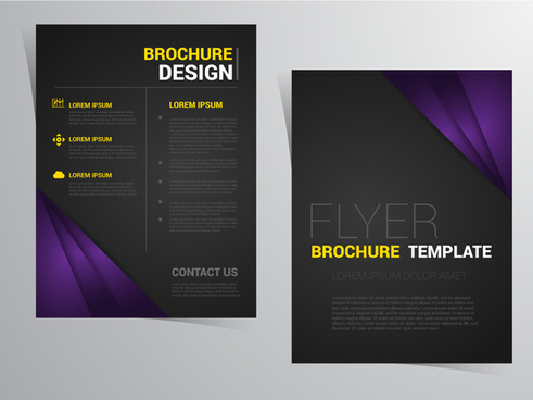flyer brochure template design with black and violet