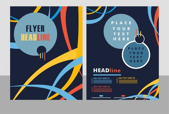 flyer cover abstract dark background with curved lines