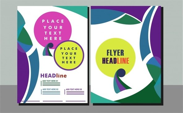 flyer cover sets abstract modern design