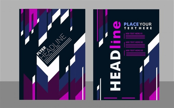 flyer cover sets modern style and dark background