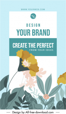flyer cover template elegant floral decor classical design