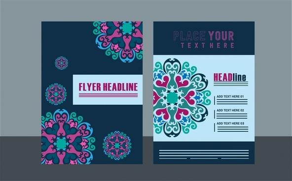 flyer design sets classical style on dark background