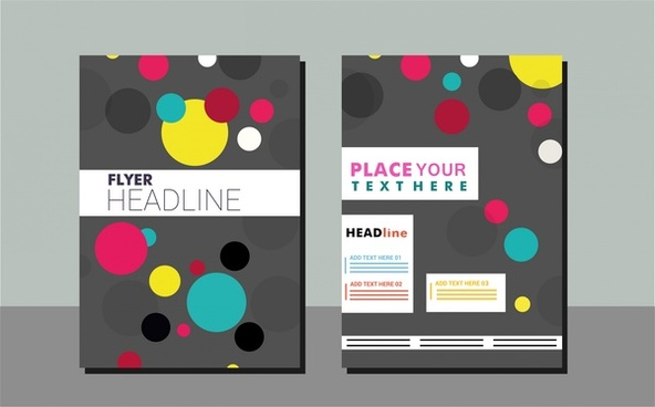flyer design sets colorful circles on dark background