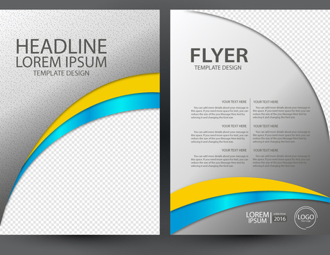 flyer design with curved illustration background