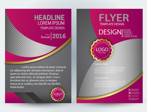 flyer illustration with curves and dark pink design