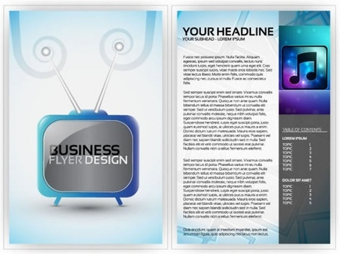 corporate flyer templates music television sketch shiny modern