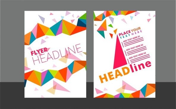 flyer sets colorful triangles design on white background