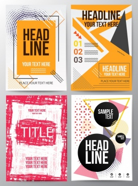 flyer sets grungy geometric modern design