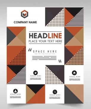 flyer template colorful flat geometric decoration