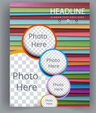 flyer template colorful horizontal stripes checkered circles
