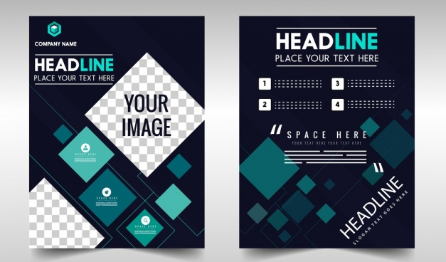 flyer template dark geometric decoration