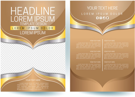 flyer template design vector on brown yellow color
