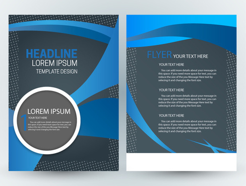 flyer template design with abstract dark blue background