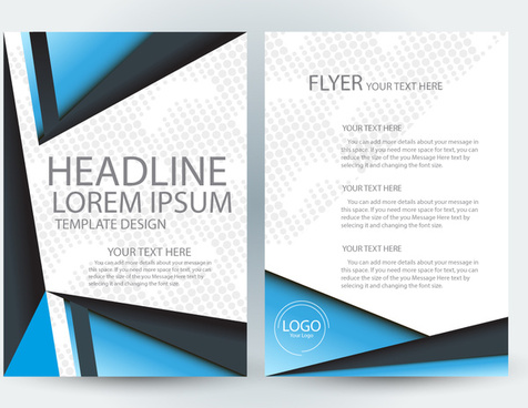 flyer template design with blue and white color