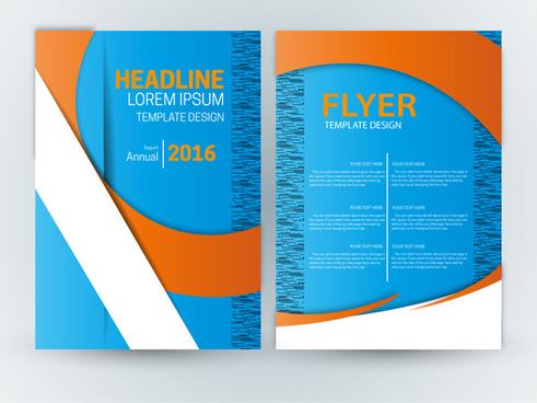 flyer template design with blue curve background