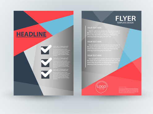 flyer template design with checklist abstract style - Free Flyer Design Templates