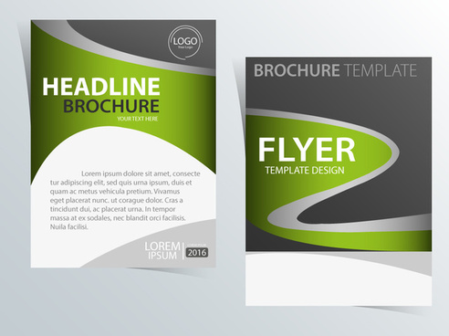 flyer template design with curved line style