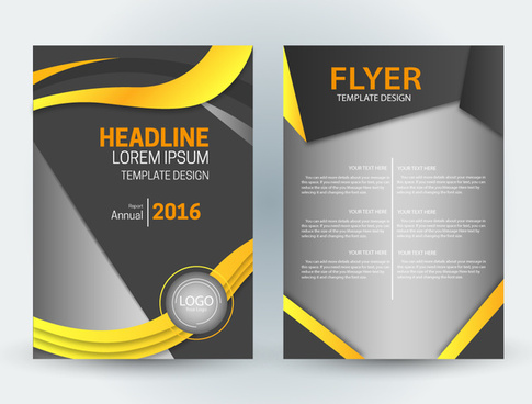 flyer template design with curves and diagonal illustration