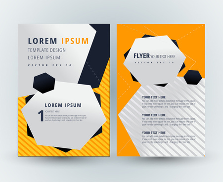 flyer template design with polygon shapes illustration