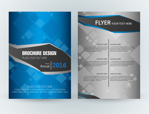 flyer template design with squares vignette style
