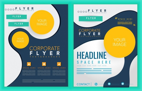 flyer template modern decor circles design