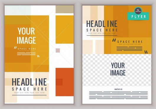 flyer template modern design yellow white decor