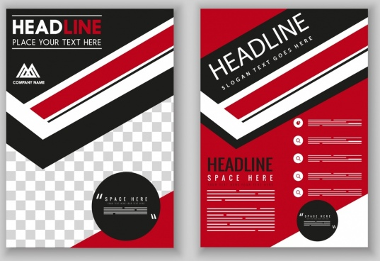 flyer template modern red black design checkered decor