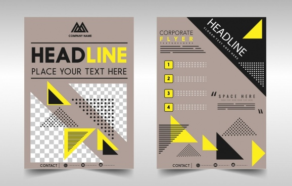 flyer template modern triangles decoration