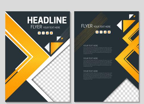 flyer template on geometric black background
