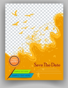 flyer template orange splashing bird silhouette checkered background