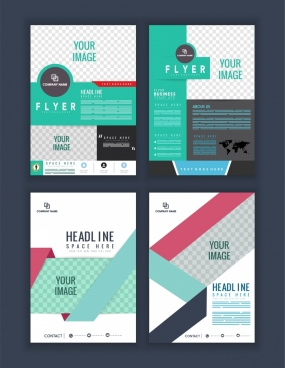 flyer template sets checkered decor multicolored modern design