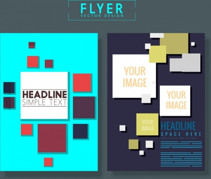 flyer template squares decoration multicolored design