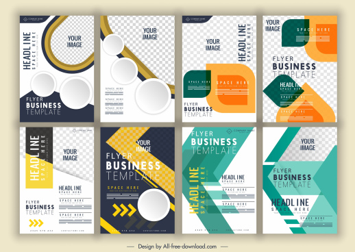 flyer templates collection bright colorful elegant modern decor