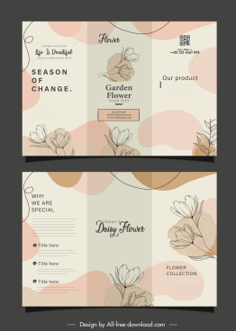 flyer templates elegant classic botanical decor trifold design