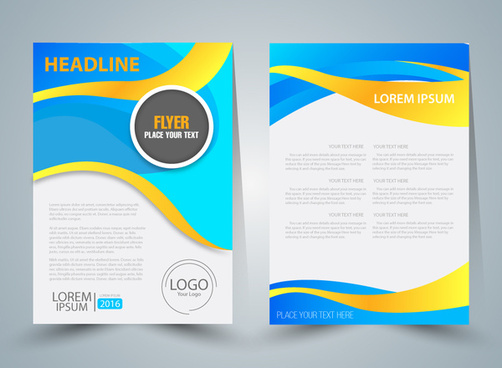 flyer vector illustration with curved illustration background