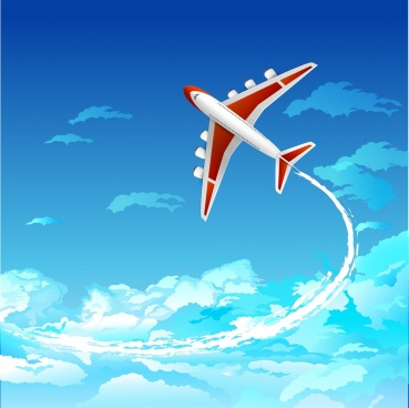 flying airplane background colorful decoration
