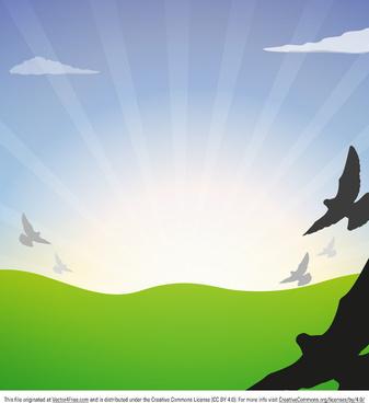 flying bird vector landscape